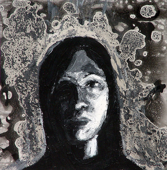 Expressive Self Portrait,Mixed-Media On Paper